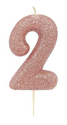Rose Gold Number 2 Glitter Candle