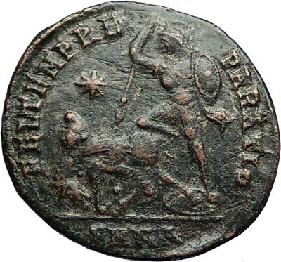 CONSTANTIUS II Authentic Ancient GLADIATOR Style BATTLE SCENE Roman Coin i71074