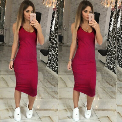 Women Ladies Rib Tank Sleeveless Strappy Side Split Party Midi Dress G