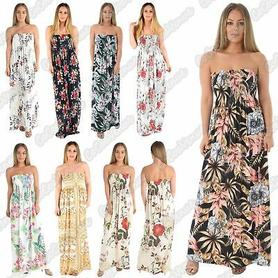 Ladies Floral Print Sheering Boobtube Bandeau Strapless Ruched Summer Maxi Dress