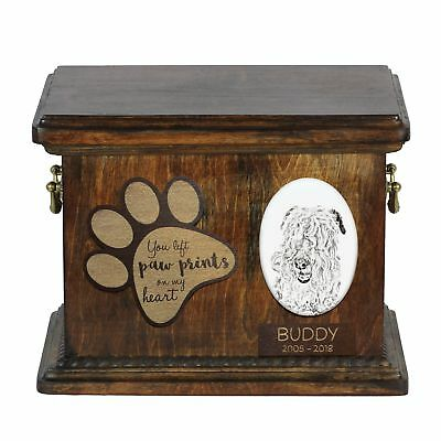 Lakeland Terrier - Urn for dog's ashes with ceramic plate and description USA