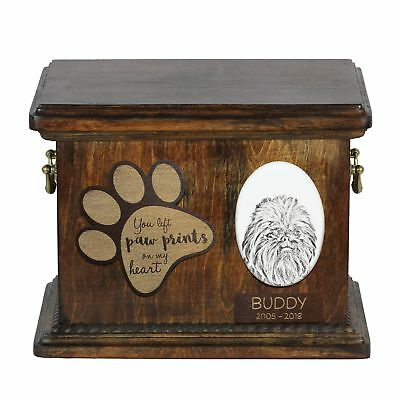 Affenpinscher - Urn for dog's ashes with ceramic plate and description USA
