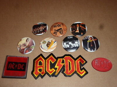 AC/DC memorabilia LOT button PATCH pinback PIN badge ANGUS YOUNG bon scott ACDC