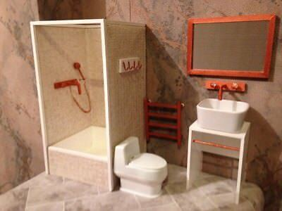 barbie doll size bathroom for dolls...Full set!!!.... with copper accessories!!
