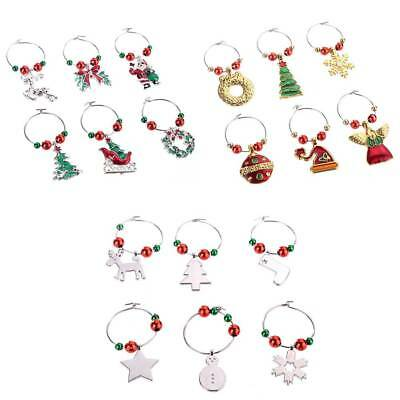 6Pcs/Set Mixed Christmas Glass Wine Charms Mark Ring Table Decorations Gift