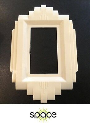 Vintage White Plastic Art Deco Wall Light Switch Plate Hardware