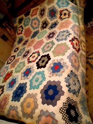 Vintage Bright Signed Dated Grandma's Flower Garden Hs Feed Sack Fabrics Quilt