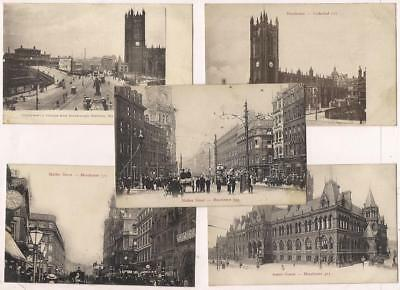 5 Early PCs MANCHESTER England~Unposted c1910~Hunt's Series~Market St,Courts VG