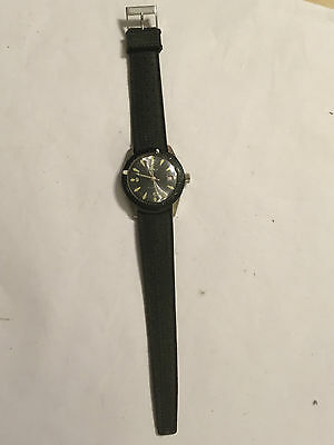 Vintage Lucerne Calendar Watch Black Face Strap Working Wind Up Mechanism