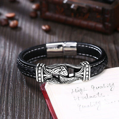 Men's Silver Stainless Steel Clasp Multi-layer Black Braided Leather Bracelet