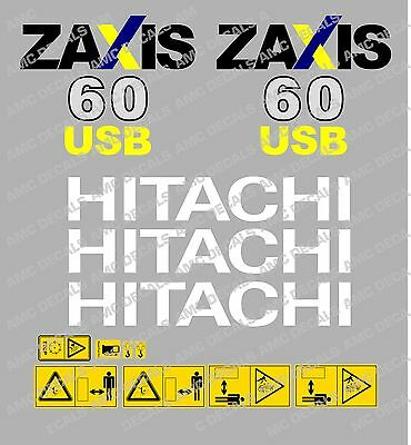 Hitachi Zaxis 60USB Mini Pelle Autocollants Décalc
