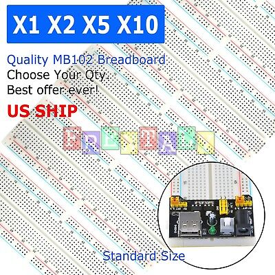 Lot MB-102 830 Point Prototype PCB Solderless Breadboard Protoboard US