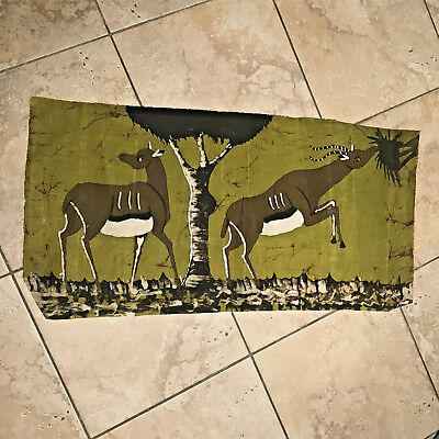African Antelope Batik Art Hand Painted with Wax Authentic Made in Zimbabwe