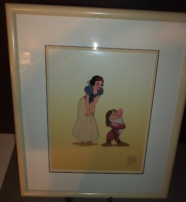 Limited Edition Certified Serigraph Cell Walt Disney Co .🍎  SNOW WHITE & GRUMPY