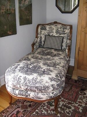 Antique Carved Country French Louis XV Style Chaise Lounge Waverley Toile