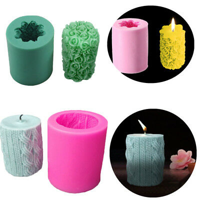 3D Rose Cylinder Round Polymer Clay Pudding Candle Soap Mold Silicone Mould DIY