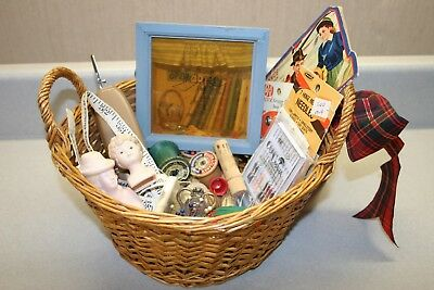 Vintage Sewing Basket Lot Of Old Sewing Notions Buttons Spools Decor