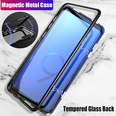 Magnetic Absorption  Metal Case Tempered Glass Cover For Samsung S7 S8 S9 Note 8
