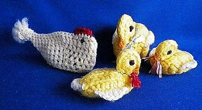 Mother Duck with 2 Ducklings PLUS Hen  - Lot of 4 Hand Crocheted Vintage