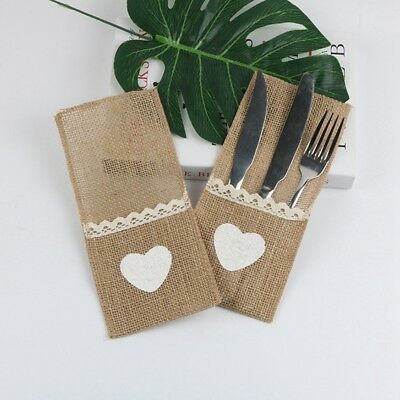 10X  Burlap Lace Heart Tableware Cutlery Holder Pouch Wedding Supply Party Decor