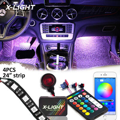 Bluetooth Glow LED Interior Car Kit Under Dash Foot Well Seats Inside Lighting