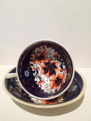 """Antique Gaudy Welch Cup and Saucer - """"Tricorn"""""""