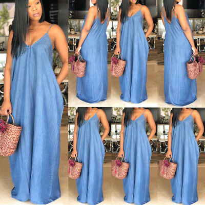 Plus Size Boho Backelss Summer Long Denim Maxi Dress Women Loose Jean Sundress
