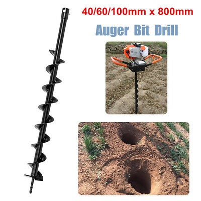 40/60/100mm x 800mm Earth Auger Fence Borer Drill Bit  Petrol Post Hole Digger
