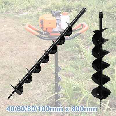 40/60/80/100mm x 800mm Auger Bit Drill Earth Petrol Post Hole Digger Garden Tool