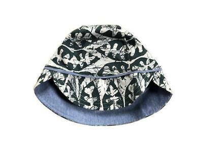 Bonds Baby Reversible Hat - Kids Boys Girls Stretchies Sun Blue Batik Leaf