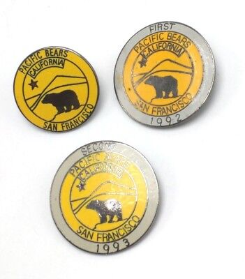 1990s SAN FRANCISCO PACIFIC BEARS CLUB lot of 3 PINS  leather levis gay interest
