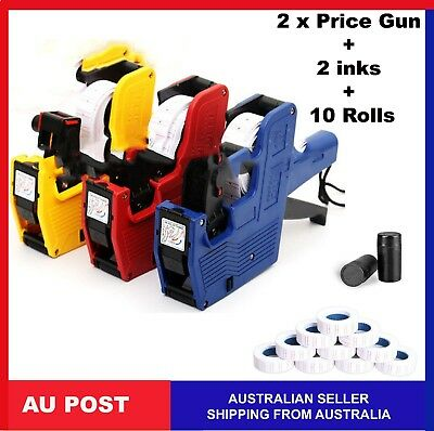 2 x PRICE GUN 10 ROLLS 2 INKS PRICING PRICETAG TAGGING GUN LABELER