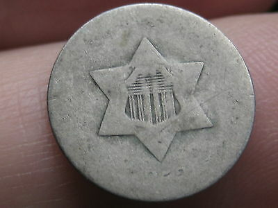 1852 Three 3 Cent Silver Trime- Lowball, Heavily Worn