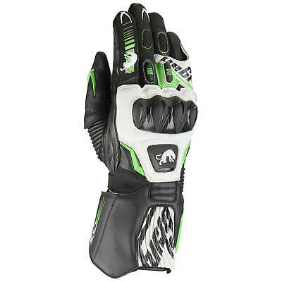 Furygan FIT-R2 Men's Leather Gloves Sport - Black White Fluo Green
