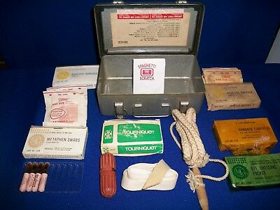 WWII JEEP First Aid kit with Original contents and Mounting Bracket