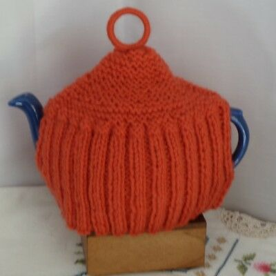 Vintage knitted tea cosy, orange/red colour, small to medium