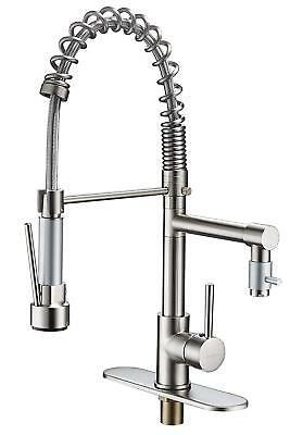 Bwe Brushed Nickel Kitchen Sink Faucet Pull Out Down Sprayer Mixer Taps Bar Sink