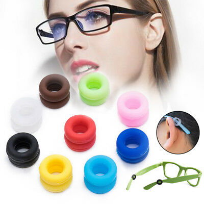 Silicone Lunettes Oreilles Crochets Anti Slip Grips Temple Holder Support Ronde