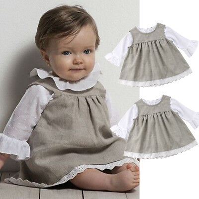 Cute Toddler Baby Girl Lace T-shirt Tops Dress Outfit Set Toddler Casual Dresses