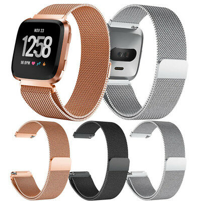 For Fitbit Versa Sport Watch Band Replacement Milanese Magnetic Clasp Stain G9D3