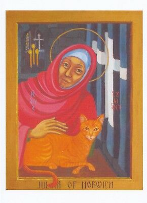 Pet Cat Of Julian Norwich Norfolk Cell Medieval Vision Religious Greeting Card