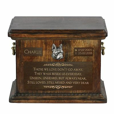 Boston Terrier - Urn for dog's ashes with relief and sentence Art Dog USA