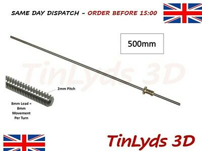 3D Printer 500mm T8 Trapezoidal Lead Screw Rod - comes with anti backlash nut