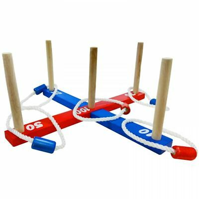 Wooden Ring Toss Game Garden Quoits Outdoor Rope Hoopla Family Summer Fun Toy