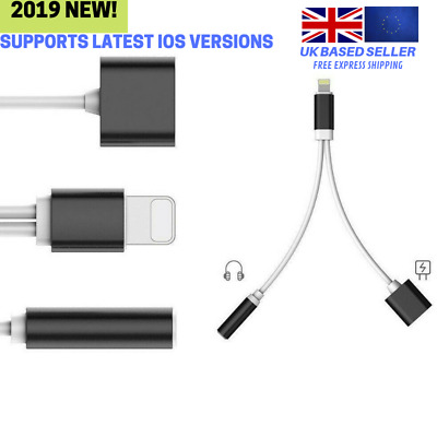 Audio Charging Splitter Cable Lightning to 3.5mm Aux Headphone Jack for iPhone 7