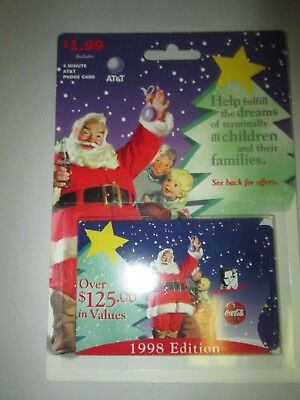 AT&T 1998 Edition Coke Coca Cola Phone Card with Santa Claus