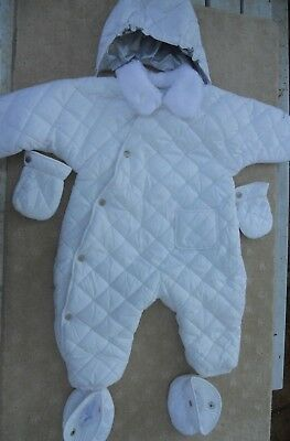 Baby Girls London Fog ski suit with hood, mittens and bootees Size 2 for 24mths