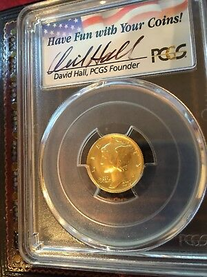 2016-W 10C Mercury Dime Gold 100th Annv PCGS DAVID HALL First Strike 315 MTG