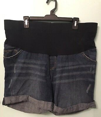 Oh Baby by Motherhood Maternity Distressed Denim Blue Jean Shorts Size XL