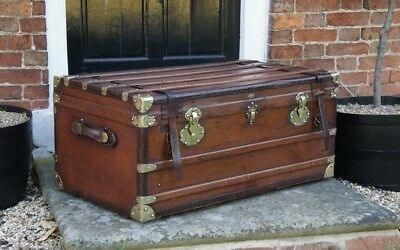 Large French Antique Steamer Trunk circa 1900s